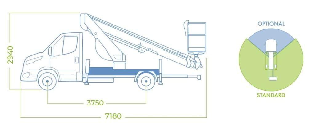 Telescopic aerial platform 18T dimensions